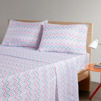 Intelligent Design Multicolor Chevron Printed Twin Sheet Set in Teal/Pink