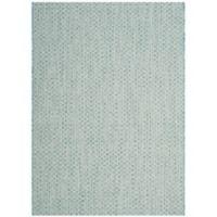 Safavieh Courtyard Check Indoor/Outdoor 4-Foot x 5-Foot 7-Inch Area Rug in Light Blue/Light Grey