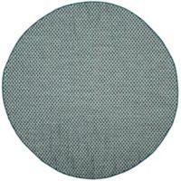 Safavieh Courtyard Check Indoor/Outdoor 6-Foot 7-Inch Round Area Rug in Turquoise/Light Grey