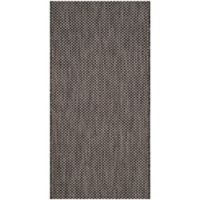 Safavieh Courtyard 2-Foot 7-Inch x 5-Foot Indoor/Outdoor Area Rug in Black/Beige