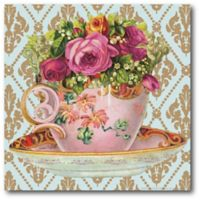 Courtside Market Tea Cup Party I 16-Inch Square Canvas Wall Art