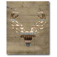 Courtside Market 20-Inch x 16-Inch Patterned Deer I Canvas Wall Art