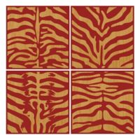 Benjamin Parker Red 4-Piece Zebra 40-Inch Square Wood Relief Framed Wall Art