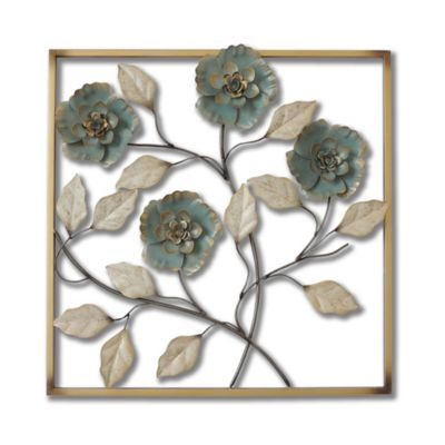 Genial Stylecraft Square Metal Flower Wall Art In Turquoise