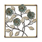 Stylecraft Square Metal Flower Wall Art in Turquoise