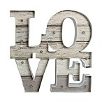 Lit Love 15-Inch Square Metal Wall Art in Grey