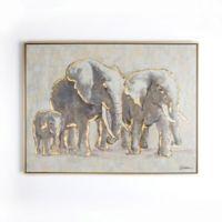 Graham & Brown Metallic Elephant Family 31-Inch x 24-Inch Framed Canvas Wall Art