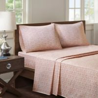 Madison Park Chevron Microfiber Printed California King Sheet Set in Pink