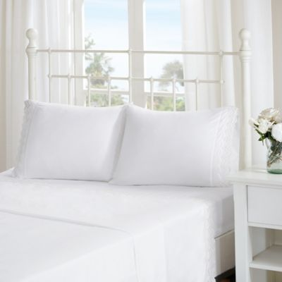 Attirant Madison Park Essentials Scalloped Eyelet Embroidered Twin Sheet Set In White