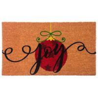 """Flocked """"Joy"""" 16-Inch x 28-Inch Coir Multicolored Door Mat"""