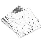 Kushies® 2-Pack Stars/Chevron Cotton Flannel Receiving Blankets in Grey