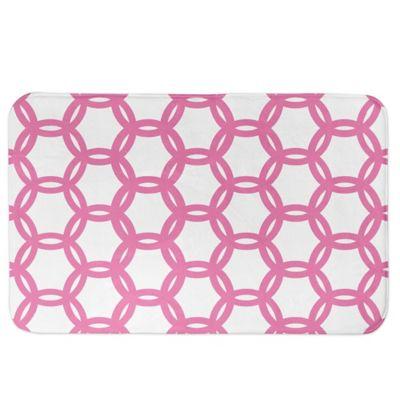 Designs Direct Preppy Locking Circles Bath Mat In Pink