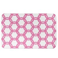 Designs Direct Preppy Locking Circles Bath Mat in Pink