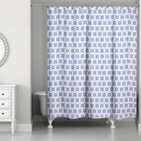 Designs Direct Preppy Stitch 71-Inch x 74-Inch Shower Curtain in Blue