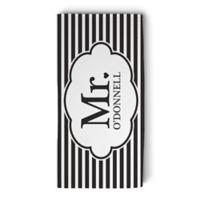 """Mr."" Striped Beach Towel in Black/White"