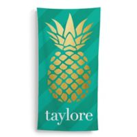 Golden Pineapple Beach Towel in Gold/Green