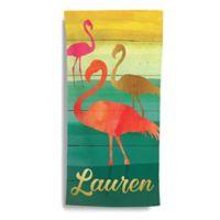Pink Flamingos Beach Towel in Green