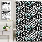Heaton & Parke Bathroom Rules Shower Curtain Set in Black