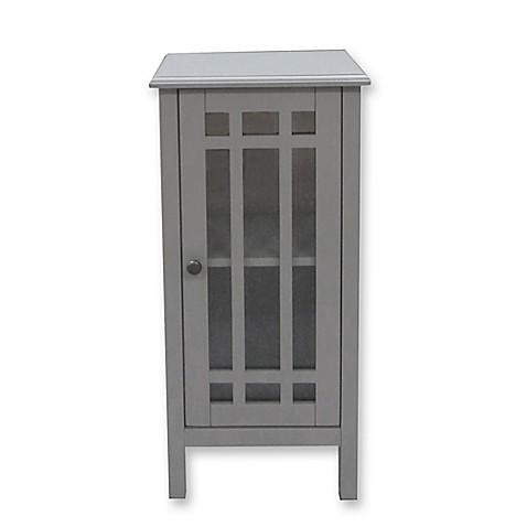 Bathroom Floor Cabinet With Glass Door In Grey Bed Bath
