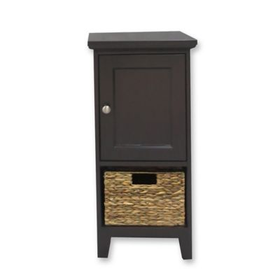 1 Basket Bathroom Floor Cabinet In Espresso