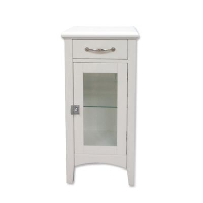 1 Drawer Bathroom Floor Cabinet With Glass Door In White