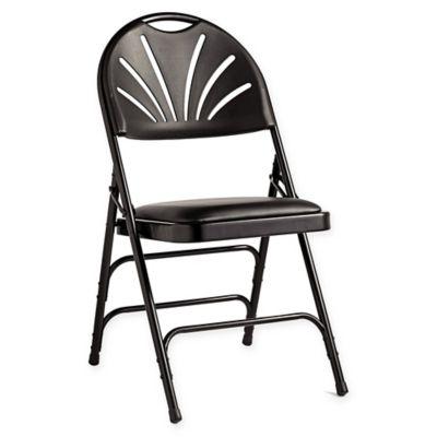 samsonite fanback vinyl padded folding chairs in black set of 4