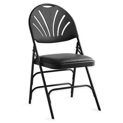 Vinyl XL Fan Back Folding Chair In Black (Set Of 4)