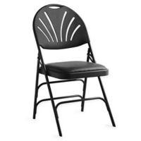 Vinyl XL Fan-Back Folding Chair in Black (Set of 4)