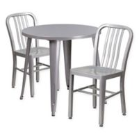 Flash Furniture 3-Piece 30-Inch Round Metal Table and Industrial Chairs Set in Silver