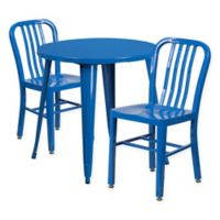 Flash Furniture 3-Piece 30-Inch Round Metal Table and Industrial Chairs Set in Blue