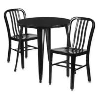 Flash Furniture 3-Piece 30-Inch Round Metal Table and Industrial Chairs Set in Black
