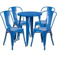 Flash Furniture 5-Piece 24-Inch Round Metal Table and Stackable Chairs Set in Blue