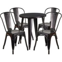 Flash Furniture 5-Piece 24-Inch Round Metal Table and Stackable Chairs Set in Black/Gold
