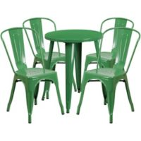 Flash Furniture 5-Piece 24-Inch Round Metal Table and Stackable Chairs Set in Green