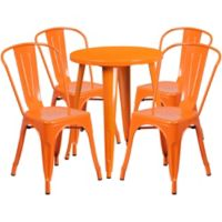 Flash Furniture 5-Piece 24-Inch Round Metal Table and Stackable Chairs Set in Orange