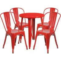 Flash Furniture 5-Piece 24-Inch Round Metal Table and Stackable Chairs Set in Red