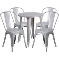 Flash Furniture 5-Piece 24-Inch Round Metal Table and Stackable Chairs Set in Silver