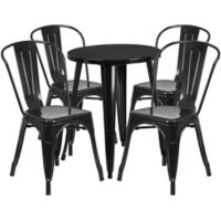 Flash Furniture 5-Piece 24-Inch Round Metal Table and Stackable Chairs Set in Black