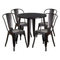 Flash Furniture 5-Piece 30-Inch Round Metal Table and Stackable Chairs Set in Black/Gold