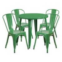 Flash Furniture 5-Piece 30-Inch Round Metal Table and Stackable Chairs Set in Green