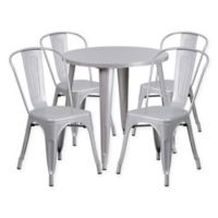 Flash Furniture 5-Piece 30-Inch Round Metal Table and Stackable Chairs Set in Silver