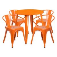 Flash Furniture 5-Piece Round 30-Inch Metal Table and Arm Chairs Set in Orange