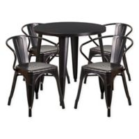 Flash Furniture 5-Piece Round 30-Inch Metal Table and Arm Chairs Set in Black/Gold
