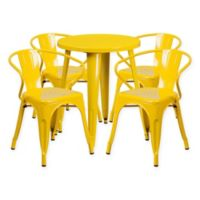 Flash Furniture 5-Piece Round 24-Inch Metal Table and Arm Chairs Set in Yellow