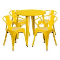 Flash Furniture 5-Piece Round 30-Inch Metal Table and Arm Chairs Set in Yellow