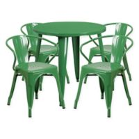 Flash Furniture 5-Piece Round 30-Inch Metal Table and Arm Chairs Set Green