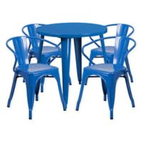 Flash Furniture 5-Piece Round 30-Inch Metal Table and Arm Chairs Set in Blue