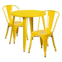 Flash Furniture 3 Piece 30 Inch Round Metal Table And Stackable Bistro Chairs Set