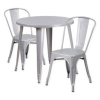 Flash Furniture 3-Piece 30-Inch Round Metal Table and Stackable Bistro Chairs Set in Silver