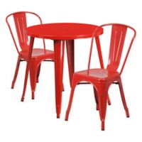 Flash Furniture 3-Piece 30-Inch Round Metal Table and Stackable Bistro Chairs Set in Red